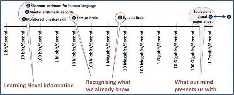 The difference between our subjective experience, and our ability to learn anything novel from the moment